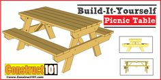 Traditional picnic table plans, PDF download, includes drawings, step-by-step details, shopping list and cut list. Easy-to-build weekend project.