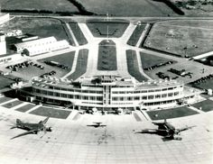 Dublin Airport Terminal 1 (Original Building) - Collinstown, Ireland - Desmond FitzGerald / Office of Public Works - Image from the early Dublin Airport, Images Of Ireland, Island Nations, Historical Images, Air Travel, Dublin Ireland, Old Photos, Vintage Photos, The Good Old Days