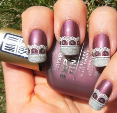 Matte rose polish, stickers, and glitter! By Deez Nailz Great Nails, Fabulous Nails, Winter Nail Art, Winter Nails, Posh Nails, Or Violet, Nail Art Photos, Shellac Nails, Manicures
