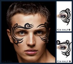 Tribal eye face paint design for boys and men