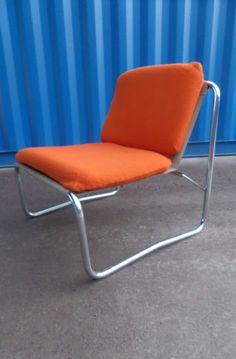 Vtg Retro 60s 70s Modernist Mid Century Chrome Metal Orange Lounge Gaming Chair | eBay