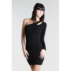 D7992 One Shoulder Ribbed Dress - Black