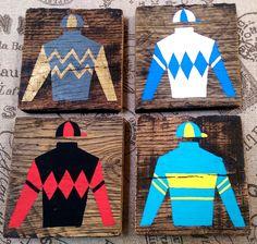 Jockey Silks Silhouette Handpainted on Reclaimed  Wood Kentucky Derby by styledagainetsy on Etsy