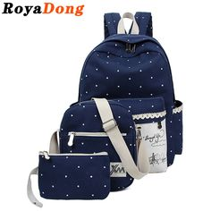 RoyaDong Women Printing Backpacks Set School Bags For Teenage Girls Canvas Dot Windmill Printing Lace Book Bag 2016 #clothing,#shoes,#jewelry,#women,#men,#hats,#watches,#belts,#fashion,#style