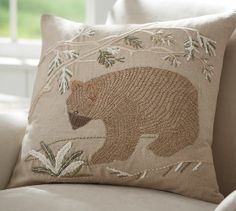 Jute Bear Embroidered Pillow Cover | Pottery Barn