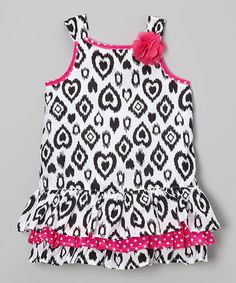 Look what I found on #zulily! Black Heart Ruffle Swing Dress - Toddler by Kids Headquarters #zulilyfinds