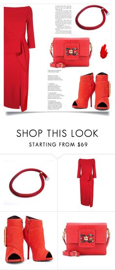 """""""Red romance!"""" by samra-bv ❤ liked on Polyvore featuring Roland Mouret, Giuseppe Zanotti, Dolce&Gabbana, Maybelline and modern"""