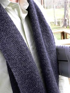 HENRY Knit scarf, Knitty: A subtle slip-stitch herringbone pattern on a stockinette background creates a beautiful fabric that appears woven rather than knit, while the lengthwise set-up of the scarf differs from the usual bottom-to-top knit-purl shawl construction.
