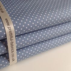 Denium Blue with 3mm White Polka Dot    100% Cotton Fabric    Rose & Hubble
