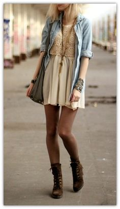 Girly casual street style with doc martens <3