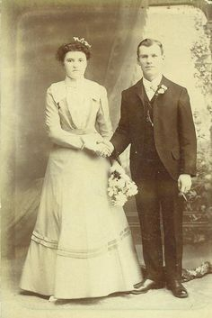 Wedding Bride In Simple Dress Holding Hands With Husband Smoking a Cigarette Antique Photo Cabinet Card Portrait Studio Photograph. $6.95, via Etsy.