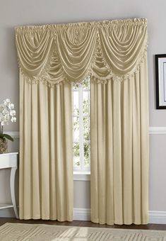 Each Hyatt Curtain Set Contains 4 Curtain Panels and 5 Waterfall Valances. Shown on a 36 inch wide Window. Machine Washable in Cold Water. Curtains With Blinds, Window Curtains, Curtains Living, Valances, Victorian Home Decor, Victorian Homes, Waterfall Valance, Bedroom Drapes, Luxury Curtains