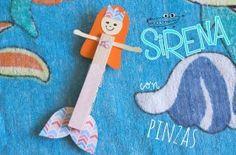 Sirena con pinzas. #Manualidades hechas de #Madera