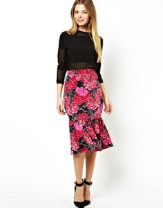 ASOS Scuba Pencil Skirt in Floral Print with Peplum Hem