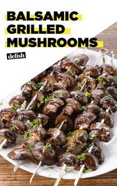 Balsamic Mushrooms are the summertime veggie you've been searching for. Get the recipe at .Grilled Balsamic Mushrooms are the summertime veggie you've been searching for. Get the recipe at . Grilling Recipes, Vegetable Recipes, Gourmet Recipes, Real Food Recipes, Vegetarian Recipes, Cooking Recipes, Healthy Recipes, Grilling Tips, Vegetarian Grilling