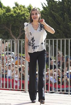 She has been noted for her slender frame in the past bit today Letizia proved that she has total body confidence as she wore a figure-hugging pair of trousers