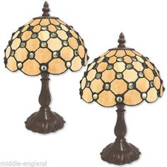 PAIR-TIFFANY-STYLE-TABLE-LAMPS-12-5-CREAM-JEWELLED-8-GLASS-SHADE-FREE-BULBS