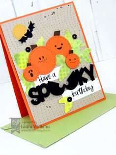 Make a sweet and spooky halloween card with Lil' Inker Designs stamps and dies Halloween Birthday, Halloween Cards, Scary Halloween, Halloween Decorations, Birthday Sentiments, Birthday Cards, Spooky Words, Cute Bat, Pumpkin Crafts