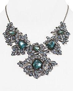 "Alexis Bittar Indigo Ice Marquis Cluster Bib Necklace, 16"""