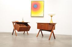 Sexy teak sewing tables with pull-out storage, ideal for sofa tables & nightstands. #danish #wood #sidetable