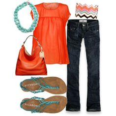 cute-- orange and teal