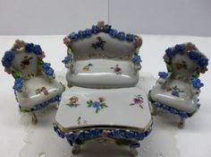 Vintage Elfinware Miniature Sofa Chairs Set Forget Me Nots Porcelain Furniture Germany