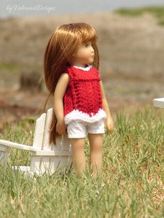 """Hand-knitted tunic top designed to fit 8"""" mini Kidz dolls by Debonair Designs"""