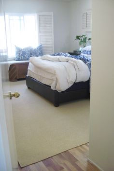 remember carpet remnants warehouse for rugs....                                                                                                                                                                                 More Home Bedroom, Master Bedroom, Carpet Remnants, White Bedrooms, Paint Ideas, Warehouse, Quilting, Decor Ideas, Flooring