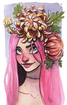 practicing painting flowers / Anne Marie / Sennelier's watercolors in Mossery sketchbook _ _ _ support me and see more at myPatreon