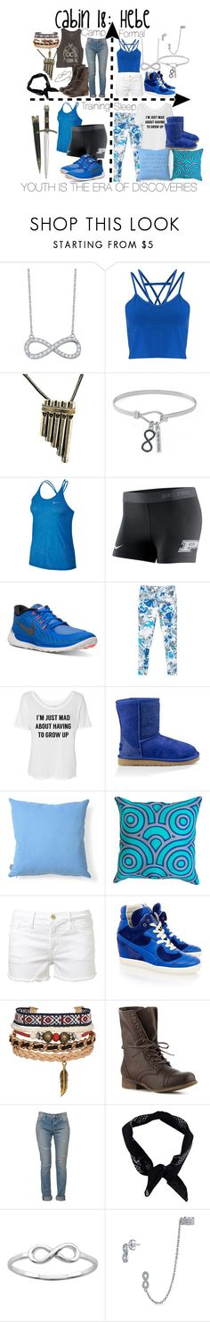 """Cabin 18: Hebe"" by aquatic-angel ❤ liked on Polyvore featuring Lafonn, Miss Selfridge, Once Upon a Time, BCBGeneration, NIKE, MANGO, UGG, Heal's, Jonathan Adler and Frame"