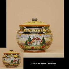 Italian Ceramic Tableware round biscuit jar cm. 16 h.