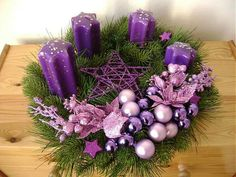 Purple Candles Add to the Holiday Feel summcoco gives you inspiration for the women fashion trends you want. Thinking about a new looks or lifestyle? This is your ultimate resource to get the hottest trends. Purple Christmas Decorations, Types Of Christmas Trees, Christmas Centerpieces, Simple Christmas, Christmas Themes, Holiday Decor, Christmas Advent Wreath, Christmas Crafts, Christmas Scents