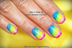 Gelish Summer Rainbow nails by FUNKY FINGERS FACTORY