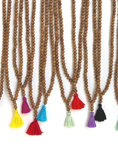 Natural Wood Bead Necklace with Tassel - #sandandstarfish