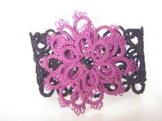 Black Lace Cuff Bracelet in Tatting by tattingblackkitty on Etsy Lace Cuffs, Lace Making, Lace Patterns, Beaded Lace, Purple Flowers, Tatting, Glass Beads, Crochet Earrings, Jewelry Making