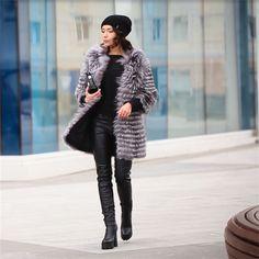 Bffur 2017キツネの毛皮のコートファッションリアルファー本物のシルバーフォックスリアルファーコート冬のアウタースリムストライプコートBF-C0006