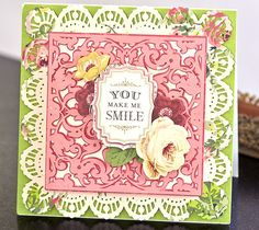 You make me smile card by Anna Griffin. Make It Now with the Cricut Explore machine in Cricut Design Space.
