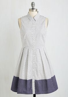 I Am What I Exam Dress - Mid-length, White, Blue, Polka Dots, Buttons, Work, Sleeveless, Woven, Better, Fit & Flare