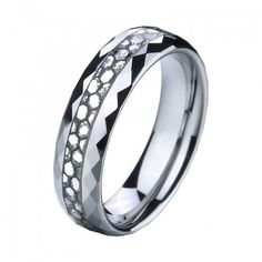 6MM Faceted Tungsten Carbide Ring Carbon Fiber Inlaid - Tungstenjewellry.com