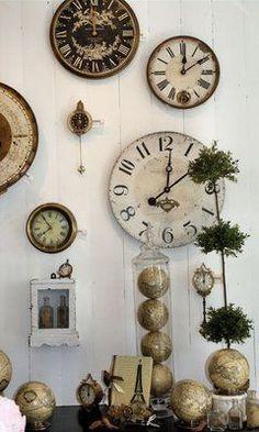 Vignette With Clockini Globes Clock Display Decor Wall Clocks
