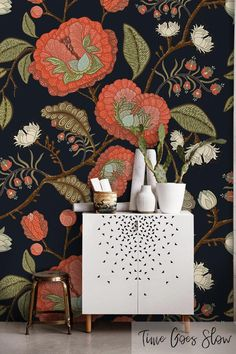 17 Ideas For Wall Paper Vintage Cute Flower Bold Wallpaper, Botanical Wallpaper, Vinyl Wallpaper, Bathroom Wallpaper, Removable Wallpaper For Renters, Eclectic Wallpaper, Wallpaper Ideas, Fantastic Wallpapers, Botanical Decor
