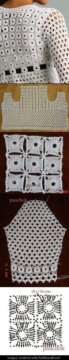 Crochet Blouse Shantou ZQ Sweater Factory: lovely geometric continuous (i. not motifs to join) crochet top. - a grouped images picture Gilet Crochet, Crochet Shirt, Crochet Jacket, Crochet Cardigan, Knit Crochet, Lace Cardigan, Crochet Tops, Crochet Diagram, Crochet Motif