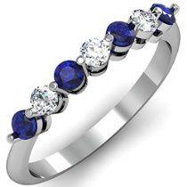 0.50 Carat (ctw) 14K White Gold Blue Sapphire & White Diamond Ladies 7 Stone Bridal Wedding Ring 1/2 CT