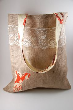 Burlap and Lace Monogramed Bridesmaid Bag by SarahNanDesigns, $17.00