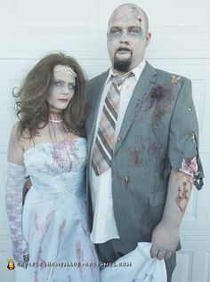 Creep out your friends and neighbors with this awesome homemade zombie  bride and groom couple costume 1dc7bebfd0a2c