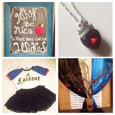 Disney Descendants,6th birthday party,Evie birthday outfit, birthday Decor , Poison apple tree centerpice, Evie Necklace, Fairest of them all