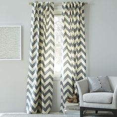 Etsy On Sale Flash Sale 48 hours only- 20% off now Grey and White Stripe Window Treatments/ Curtains today ONLY - $26.06 USD