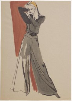 New School Archives: Digital Collections: Drawing/Painting/Print: Black Women's Ensemble with Wide-Legged Pants [KA002201_OSxxx1_f07_04]