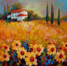 Tuscany Sunflowers Painting by Marion Rose - Tuscany Sunflowers Fine Art Prints and Posters for Sale