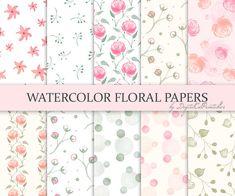 Watercolor floral digital paper. Watercolor digital paper, pastel floral papers. Digital scrapbook paper, printable paper. DIY paper crafts, craft supply by DigitalCSPrintables. http://www.etsy.com/shop/DigitalCSPrintables